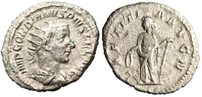 "Ancient Coins - Gordian III Silver AR Antoninianus ""Laetitia Holding Wreath & Anchor"" RIC 86"
