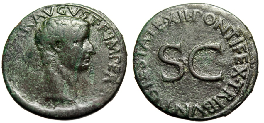 """Ancient Coins - Tiberius AE As """"PONTIFEX TRIBVN POTESTATE XII SC"""" Rome 10-11 AD RIC 469"""