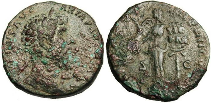 "Ancient Coins - Marcus Aurelius, AE Sestertius ""Victory With Shield Inscribed VIC PAR"" RIC 931"