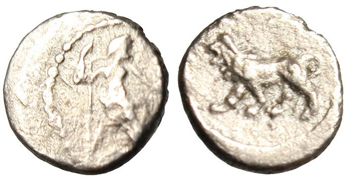 "Ancient Coins - Babylonia Babylon Silver AR Hemiobol ""Baal Seated & Lion Walking"" BMC 12 Very Rare VF"