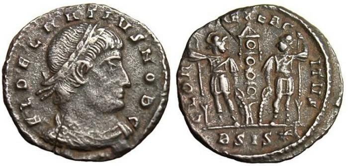 """Ancient Coins - Delmatius, AE3 """"GLORIA EXERCITVS Soldiers"""" Siscia RIC 266 Rare"""