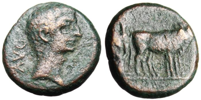 "Ancient Coins - Augustus AE17 ""Two Colonists Plowing With Oxen"" Macedonia Philippi nVF"