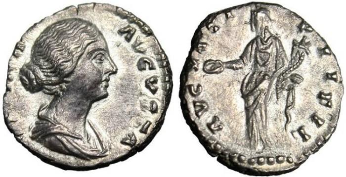 "Ancient Coins - Faustina II, AR Denarius ""Concordia"" Rome RIC 496 EF"