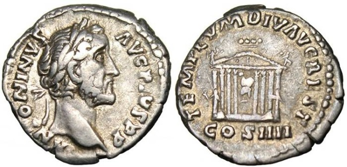 """Ancient Coins - ntoninus Pius, AR Denarius """"Temple of Divus Augustus"""" RIC 290a VF"""