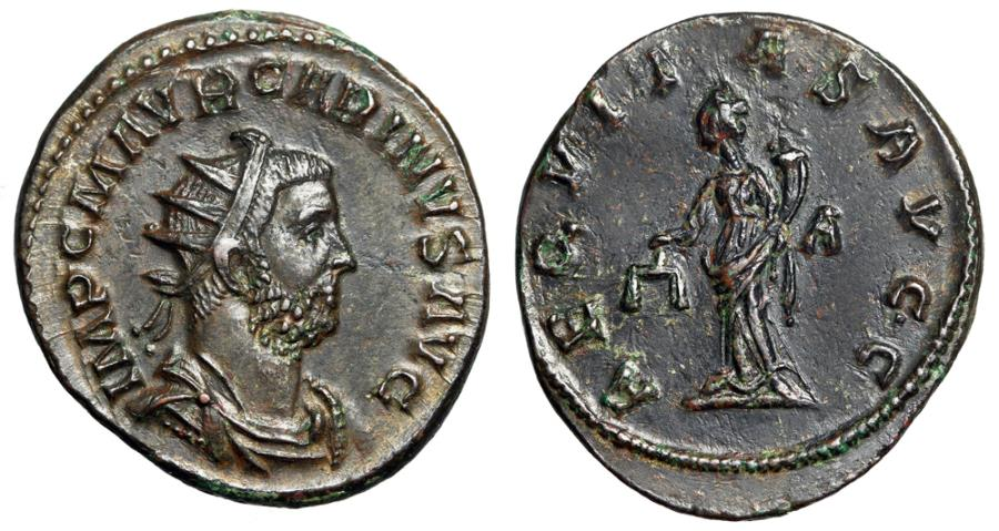 """Ancient Coins - Carinus AE Antoninianus """"AEQVITAS AVGG Aequitas, Scales"""" Lugdunum RIC 212 EF"""