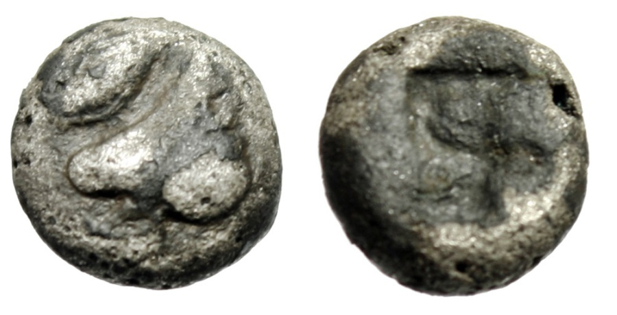 "Ancient Coins - Lesbos, Uncertain BIllon 1/12 Stater ""Boar Head, Eye & Incuse Square"" Rare"