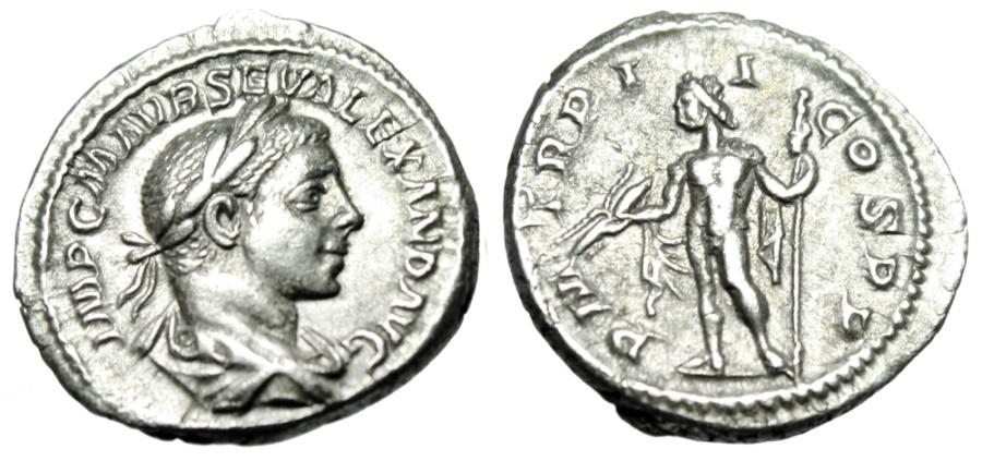 """Ancient Coins - Severus Alexander Silver Denarius """"Jupiter, Thunderbolt"""" Rome 223 AD RIC 19 gVF"""