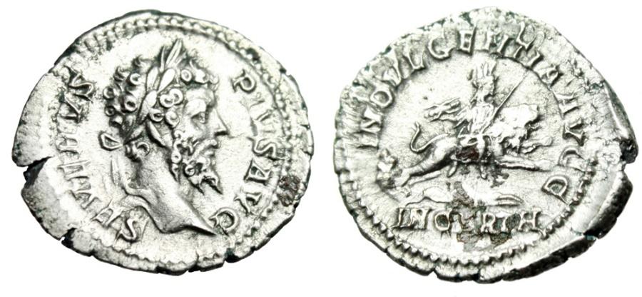 """Ancient Coins - Septimius Severus Silver Denarius """"INDVLGENTIA IN CARTH Dea Caelestis, Lion"""" VF"""