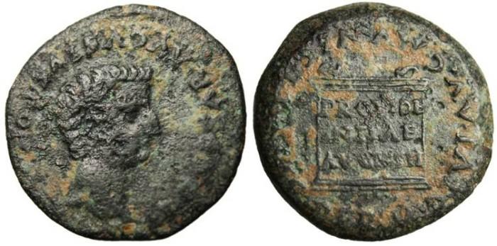 "Ancient Coins - Tiberius ""Altar PROVIDENTIAE AVGVSTI"" Spain, Italica VF"