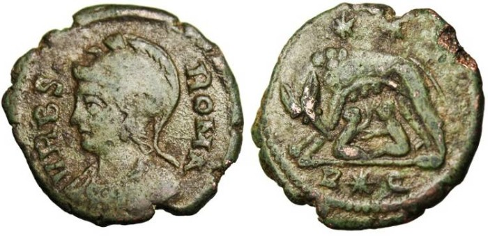 Ancient Coins - Roma Rome City Commemorative, AE3 R*Q Rome RIC 396 R5 Rare