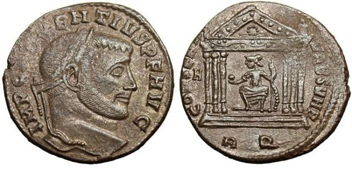 """Ancient Coins - Maxentius, AE Follis """"Roma In Temple RQ"""" Rome RIC 202 VF"""