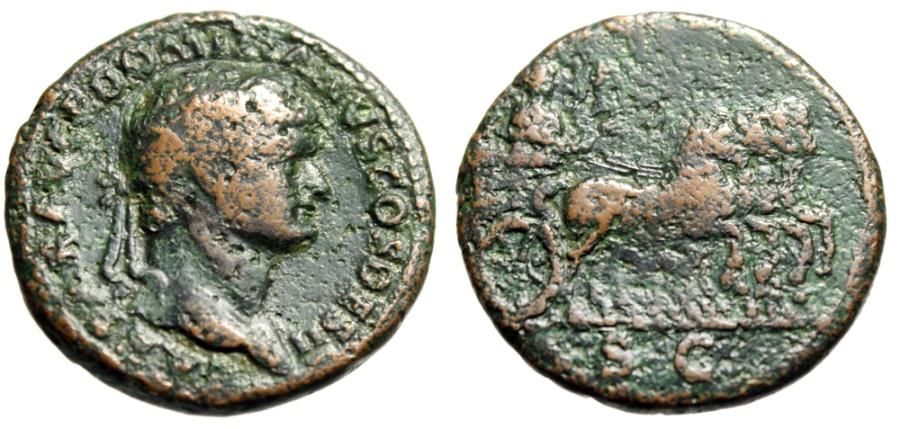 """Ancient Coins - Domitian Caesar AE As """"Vespasian in Quadriga of Horses"""" 73-74 AD RIC 490 Rare"""