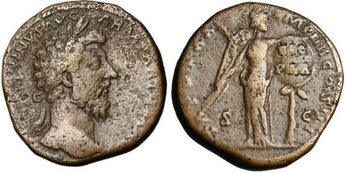 """Ancient Coins - Marcus Aurelius, AE Sestertius """"Victory Over Parthians"""" RIC 931"""