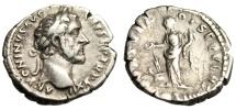 "Ancient Coins - Antoninus Pius Silver Denarius ""FORTVNA OBSEQVENS COS III Fortuna"" Rome VF"