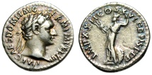 "Ancient Coins - Domitian Silver Denarius ""Minerva, Thunderbolt & Shield"" RIC 763 VF Old Tone"