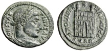"""Ancient Coins - Constantine I The Great AE3 """"Campgate, S*AR in Exergue"""" Arles RIC 263 Rare VF"""