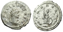 "Ancient Coins - Gallienus Silvered Antoninianus ""Minerva With Spear & Shield, Branch in ex"" Antioch RIC 651 gVF"