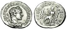 "Ancient Coins - Elagabalus Silver Denarius ""FDIES EXERCITVS Fides Seated, Standards"" RIC 68 gVF"