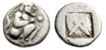"Ancient Coins - Thraco-Macedonia Tribes, Siris AR Eighth Stater ""Satyr Crouching & Incuse"" gF"