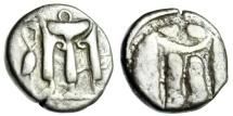 "Ancient Coins - Bruttium (Italy), Kroton Silver Stater ""Tripod, Heron Left & Incuse Tripod"" VF"