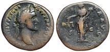 "Ancient Coins - Antoninus Pius AE Sestertius ""Moneta With Scales"" Rome RIC 611 VG"