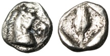 "Ancient Coins - Thessaly, Thessalian League Silver Obol ""Head of Horse & Grain Kernel"" VF Scarce"