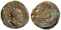 "Ancient Coins - Postumus AE Double Sestertius ""Galley (Boat), Four Rowers"" Trier RIC 143 Fine"