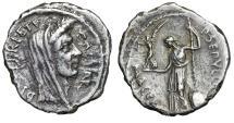 """Ancient Coins - Julius Caesar Lifetime 44 BC AR Denarius """"Veiled Portrait & Venus"""" Good VF Rare"""