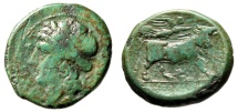 """Ancient Coins - Campania, Neapolis AE20 """"Apollo & Man Headed Bull Crowned by Victory"""" Green"""