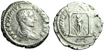 """Ancient Coins - Geta Denarius """"PONTIFEX COS Asklepios & Snakes in Temple"""" Unpublished Extremely Rare"""