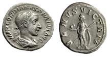 "Ancient Coins - Gordian III AR Denarius ""VENVS VICTRIX Venus, Shield"" 241 AD RIC 131 VF"