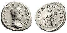 """Ancient Coins - Julia Maesa (Grandmother Elagabalus) AR Denarius """"Fecunditas, Child"""" VF"""