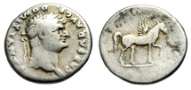 "Ancient Coins - Domitian as Caesar AR Denarius ""COS IIII Pegasus (Pegasos)"" Rome RIC 921"