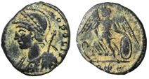 "Ancient Coins - Constantinople City Commemorative ""Victory, R Leaf E"" Rome RIC 407 Rare VF"