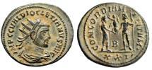 "Ancient Coins - Diocletian AE Radiate ""CONCORDIA MILITVM  Jupiter"" Cyzicus RIC 306 Choice Patina"