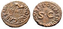 "Ancient Coins - Claudius I AE Quadrans ""Hand Holding Scales, PNR & SC"" Rome 41 AD RIC 91 VF"