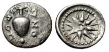 "Ancient Coins - Lokris, Lokri Opuntii AR Obol ""Amphora With Ivy & 16 Ray Star"" 375-350 BC VF"
