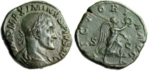 "Ancient Coins - Maximinus I Thrax AE Sestertius ""VICTORIA AVG Victory Walking"" Rome RIC 67 EF"