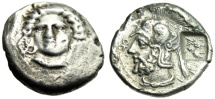"Ancient Coins - Cilicia Pharnabazos Silver Stater ""Arethusa Facing & Male"" Countermark Very Rare"