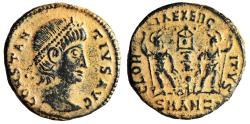 "Ancient Coins - Constantius II AE15 ""GLORIA EXERCITVS Soldiers"" Antioch RIC 49 gVF Desert Patina"