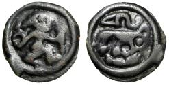 "Ancient Coins - Celtic: Northeastern Gaul, The Remi Potin Unit ""Warrior & Beast, Serpent"" VF"