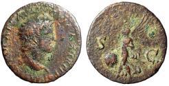 "Ancient Coins - Nero AE As ""SC Victory Flying, SPQR Shield"" Lugdunum 66 AD"