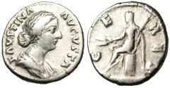 """Ancient Coins - Faustina II Silver Denarius """"Ceres Seated on Cista"""" Rome RIC 669 Scarce"""