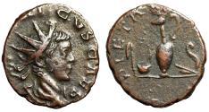 """Ancient Coins - Tetricus II Caesar AE Antoninianus """"PIETAS AVGG Pontifical Implements"""" gVF"""