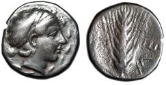 "Ancient Coins - Lucania, Metapontion AR Nomos ""Demeter Head in Wreath & Barley Ear"" Scarce"