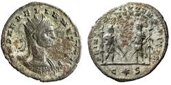 """Ancient Coins - Aurelian Antoninianus """"Two Figures, Crossed Swords & Ensigns"""" Extremely Rare gVF"""