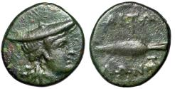 "Ancient Coins - Aitolia, Aitolian League AE18 ""Atalanta in Petasos & Spearhead, Grapes"""