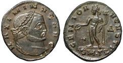 "Ancient Coins - Maximinus II Daia AE Follis ""GENIO AVGVSTI Genius"" Thessalonica RIC 42 Near EF"