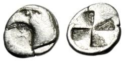 "Ancient Coins - Aeolis, Kyme Silver Hemiobol ""Eagle Head, Star & Incuse Mill Sail"" VF"