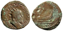 """Ancient Coins - Postumus AE Double Sestertius """"Galley (Boat), Four Rowers"""" Trier RIC 143 Fine"""